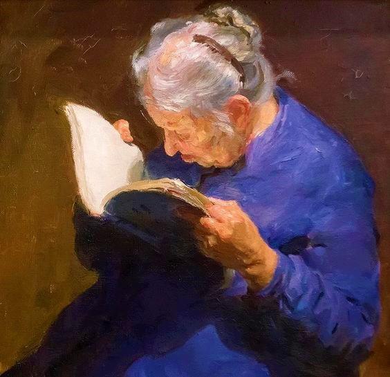 Old Woman Reading Boris Mayorov (2)