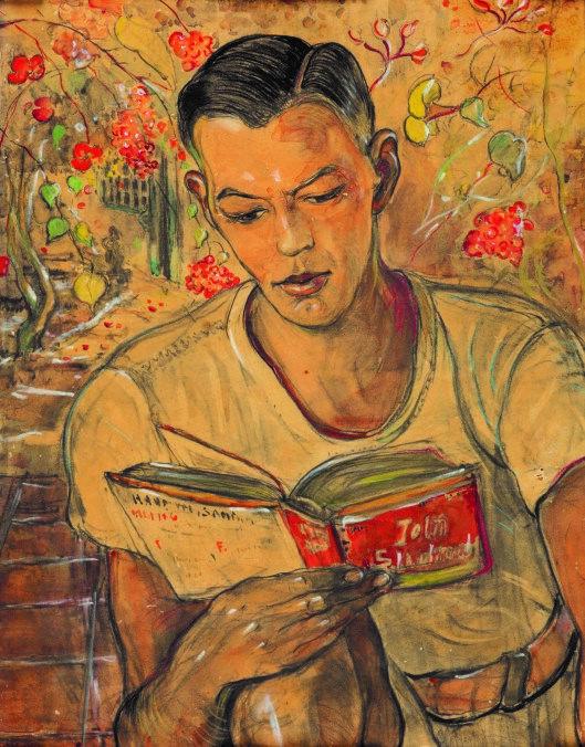 Reading a book by Adrien Jean Le Mayeur de Merpres